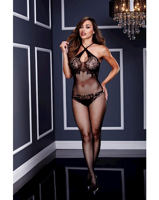 Criss Cross Floral Lace Crotchless Bodystocking One Size