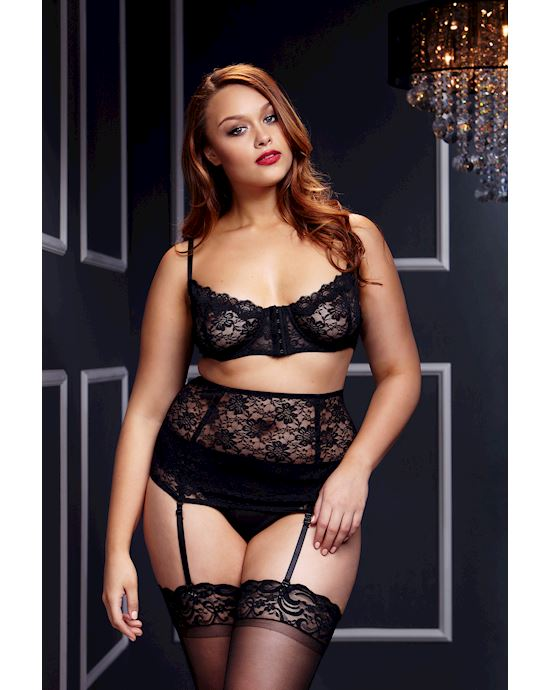 Lacy Bra Cincher Panty 3 Pc Set - One Size Queen